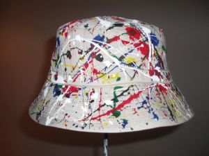 ORIGINAL INDIVIDUALLY HAND PAINTED RENI STYLE BUCKET HAT, WORN BY IAN BROWN AT THE STONE ROSES PARIS GIG